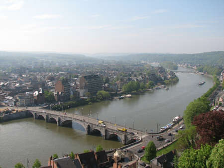walloon: Meuse river in the Walloon part of Belgium Stock Photo