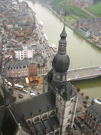 meuse: Dinant cathedral and the Meuse river Stock Photo