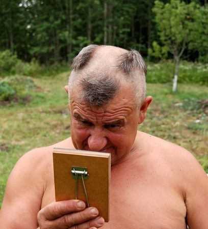 country side: Barbering men in country side Stock Photo