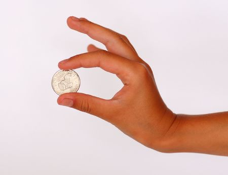 estonian: Hand , holding one dollar coin Stock Photo