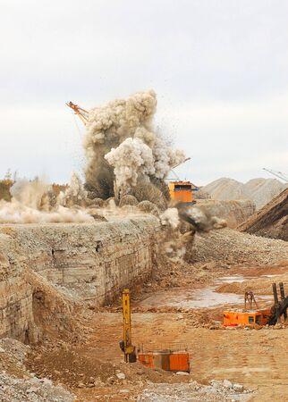 Blast in open pit photo