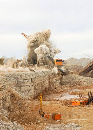 coal mining: Blast in open pit