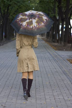 Yong woman with umbrella walking along the avenue