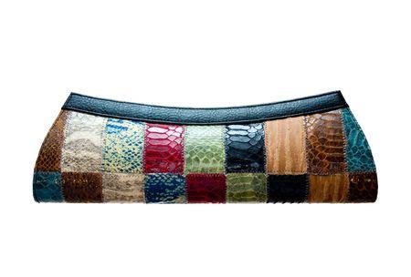 fashionable leather purse isolated on white Stock Photo