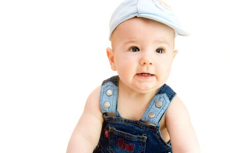 baby boy with funny expression Stock Photo