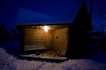 small country house in winter