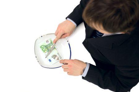 businessman having euro note for dinner photo