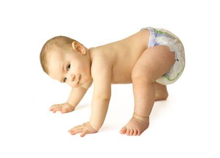 creeping: portrait of funny baby creeping