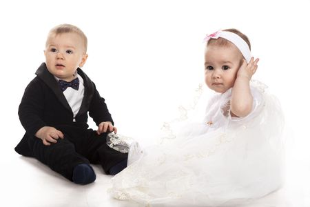 little boy and girl playing wedding Stock Photo