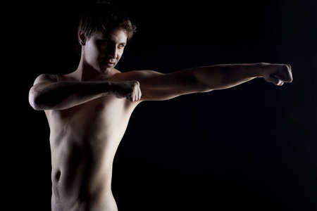 young sporty man doing exercize naked Stock Photo