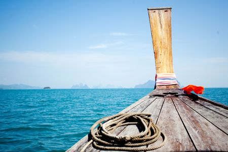longtail boat trip in a blue sea Stock Photo