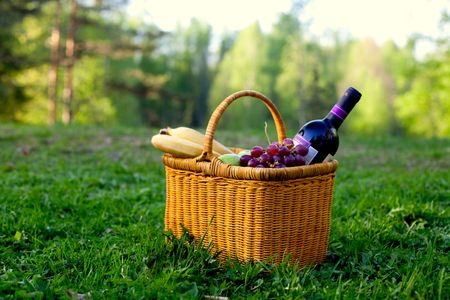 picnic basket with fruits and wine lying in the grass