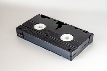 Close-up of used video cassette. Home archive. Selective focus. Close-up