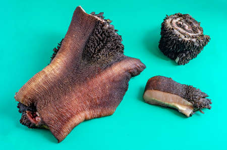 Pieces of raw cow stomach on turquoise. Random pieces Black unpeeled tripe with grass residues. Beef offal. Close-up.
