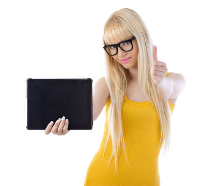 Beautiful woman with glasses holding tablet giving thumbs up over white Stock Photo