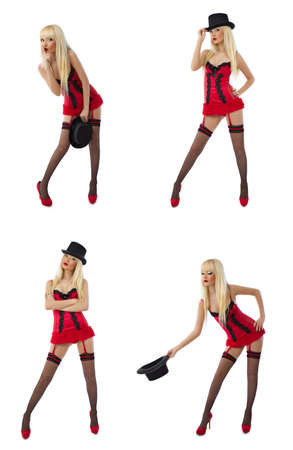 A collage of images with blonde model in sexy red lingerie on white background
