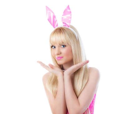 Beautiful blonde young woman wearing in bunny ears