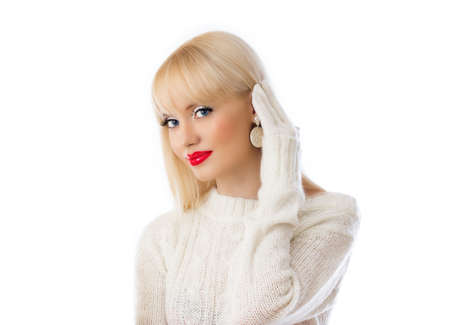 Beautiful woman in white sweater with red lips on white background Stock Photo - 16334413