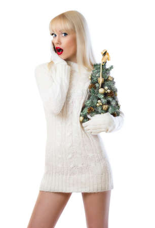 Surprised woman holding small christmas tree on white background Stock Photo - 16551554