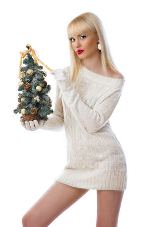 Woman holding small christmas tree on white background Stock Photo - 16551582