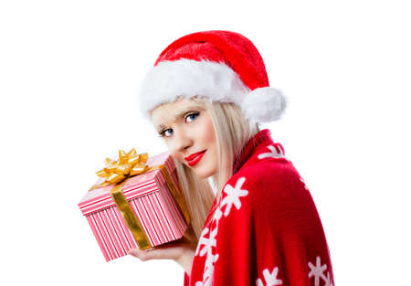 Beautiful blonde young woman in red hat with gift box on white background Stock Photo - 16756280