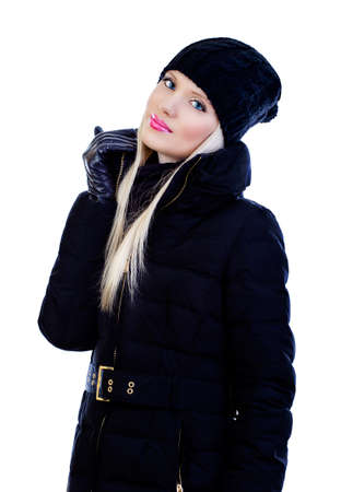 Beautiful blonde young woman in black jacket on white background Stock Photo - 16830223