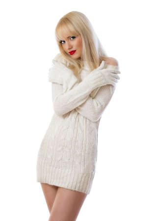 Beautiful young woman in knitted dress on white background Stock Photo - 17260132