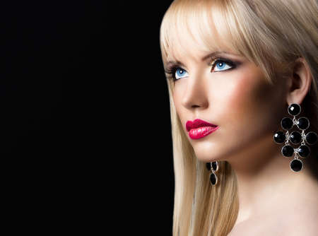 Portrait of beautiful blonde woman with perfect makeup Stock Photo