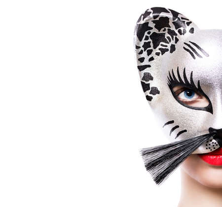 Beautiful girl in cat mask photo