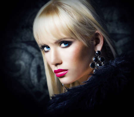 Beautiful blonde woman in luxury fur coat photo