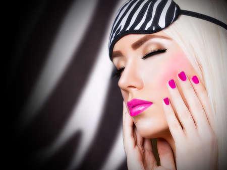 Beautiful girl with pink lips photo