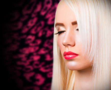 atractive: Beautiful blonde girl with perfect make up Stock Photo