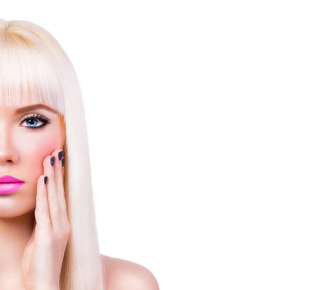 Beautiful blonde girl with manicure on white background photo