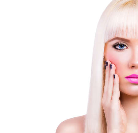 Beautiful blonde girl with pink lips on white background photo