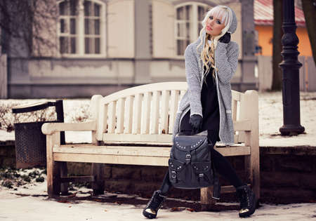 Fashion woman with backpack outdoors