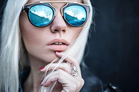 Portrait of blonde model outdoors 写真素材
