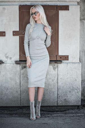 Beautiful blonde model in posing