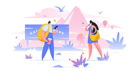 Tourists in national park flat vector illustration. Weekend on nature. Backpacking holiday, camping weekend composition. Cartoon characters walking in recreational park. People with backpacks