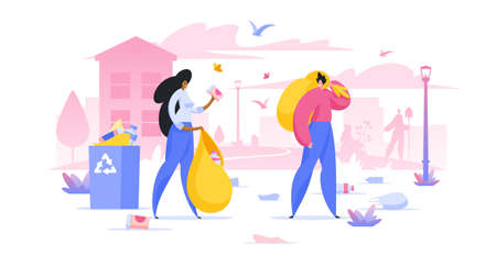 Volunteers collecting trash in city flat vector illustration. Environment protection. Man and woman cartoon characters picking garbage in bag for recycling. People preserving nature