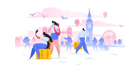 London sightseeing holiday flat vector illustration. Girlfriends tourist with backpacks taking selfie on smartphone cartoon characters. European city landmarks excursion. Vacation in Europe
