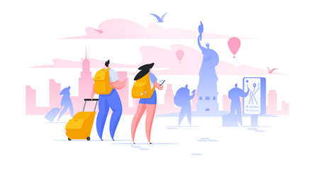 Sightseeing holiday in New York flat vector illustration. Male and female tourists taking photo of Statue of Liberty cartoon characters. Vacation in USA. World famous attraction excursion