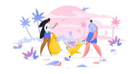 Volunteers collecting trash on beach flat vector illustration