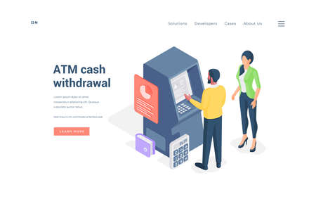 Couple withdrawing cash from ATM isometric vector illustration. Stock Illustratie