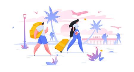 Tourists with luggage flat vector illustration summer vacation, honeymoon holiday Vektorové ilustrace
