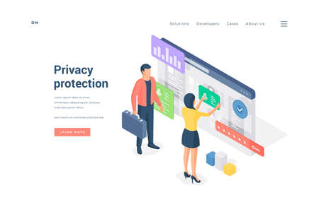 Banner of privacy protection website isometric vector illustration.