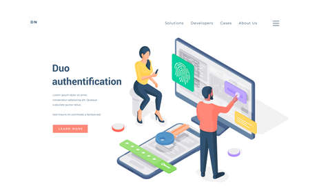 Couple using duo authentication on devices isometric vector illustration. Stock fotó - 137877510