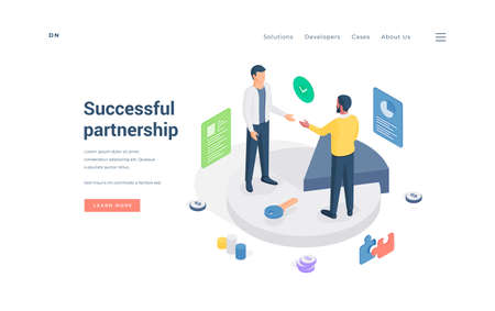 Male business partners making agreement isometric vector illustration