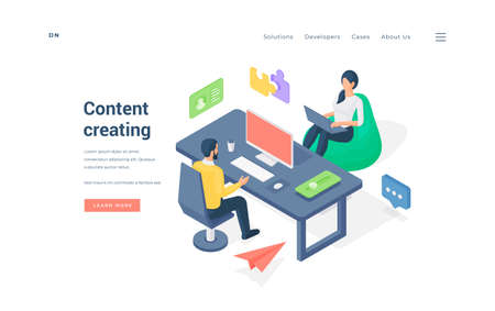 Office workers creating content together. Isometric man sitting at table and using computer near woman on bean bag browsing laptop while creating content on website banner vector illustration