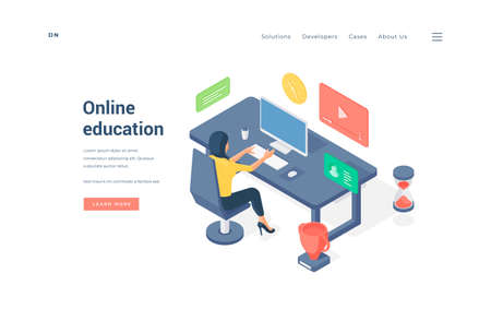Woman studying online at table. Isometric lady sitting on chair at desk and browsing educational video and article on computer on website banner vector illustration Ilustração