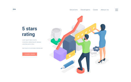People rating excellent service online. Isometric man and woman giving 5 stars rating to excellent developing service on banner of website